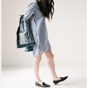 Everlane Cotton Poplin Collarless Shirt Dress
